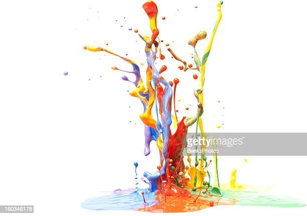 Multicolor Paint Splash Isolated on White