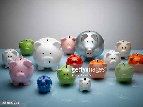 Multicolor piggy banks still life