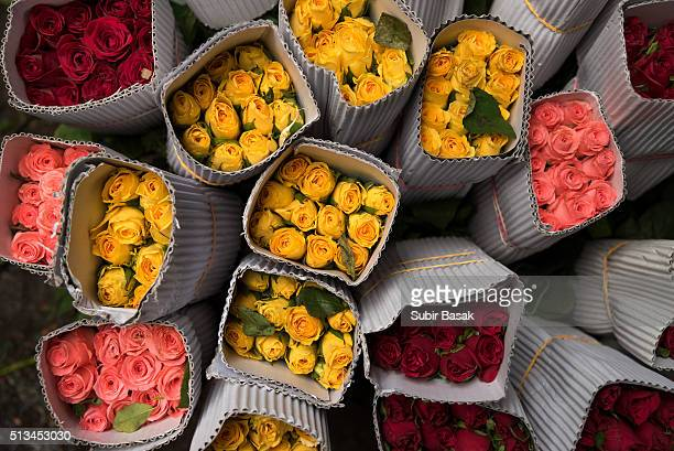 Multicolor roses packed for sale.