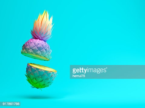 Multicolor slice pineapple on blue background 3D rendering : Stock Photo