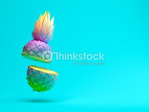 Ananas tranche multicolore sur le rendu 3D de fond bleu : Photo