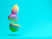 Multicolor slice pineapple on blue background 3 D rendering