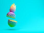 Multicolor slice pineapple on blue background 3 D rendering