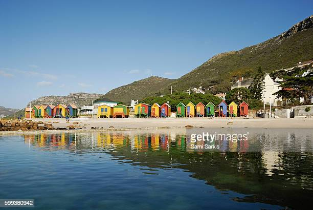 Multicolored beach huts on Muizenberg beach, South Western Cape, South Africa