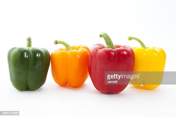Multi-colored Bell Peppers in a row