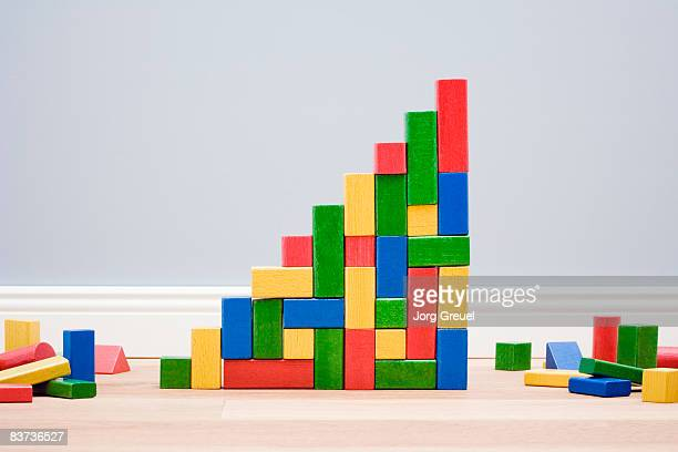 Multicolored building blocks in stairs shape
