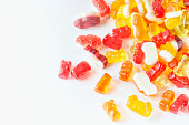 Curly gummies on an isolated background