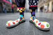 Multicolored clown shoes