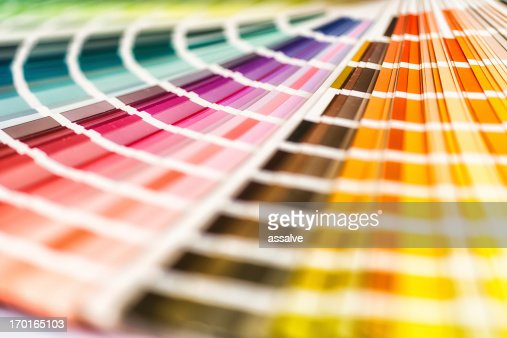 Multicolored color swatches fanned out for viewing