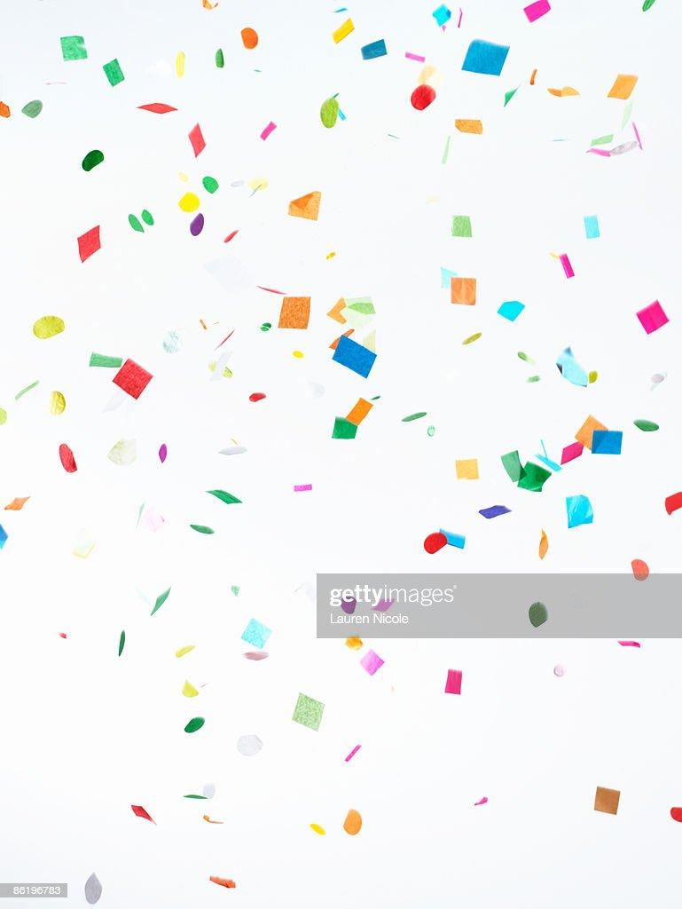 Multicolored Confetti on White Background : Stock Photo