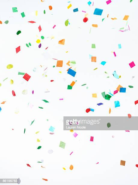 Multicolored Confetti on White Background