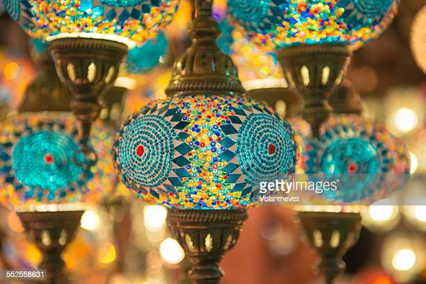 Multi-colored electric lamps in a Turkish market