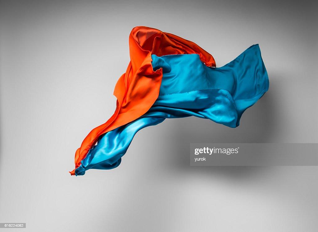 multicolored fabric in motion : Stock-Foto