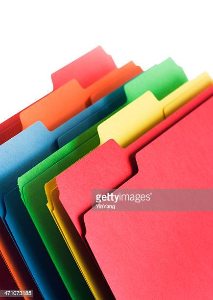 Multi-colored File Folders Stack, Office Supply for Organizing Documents, Paperwork