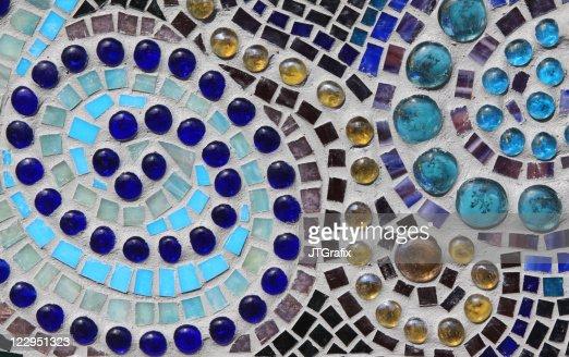 Multicolored Glass Mosaic with Swirl Pattern