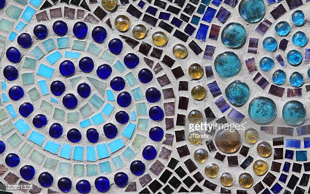 Multicolored Glass Mosaic with Swirl Pattern