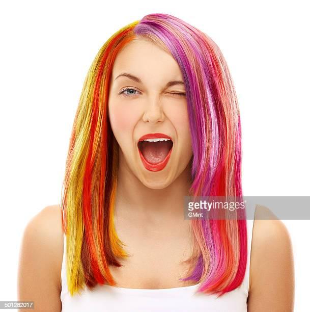 Multicolored hair.White fundo