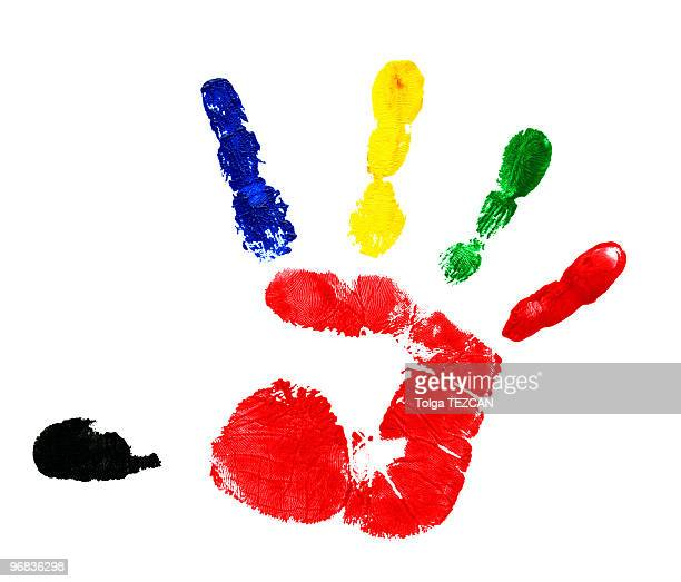 Multicolored handprint with finger paint