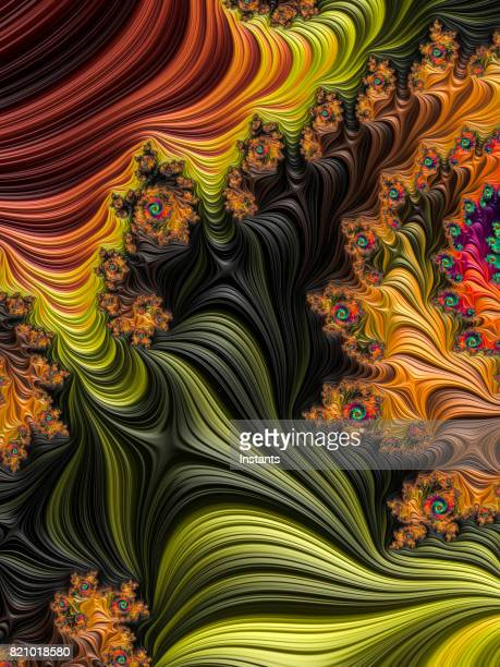 Multi-colored high resolution textured fractal background that reminds of a forest, as seen from above in a 60's album cover style.