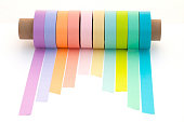 Multicolored masking tapes & craft paper cylinder
