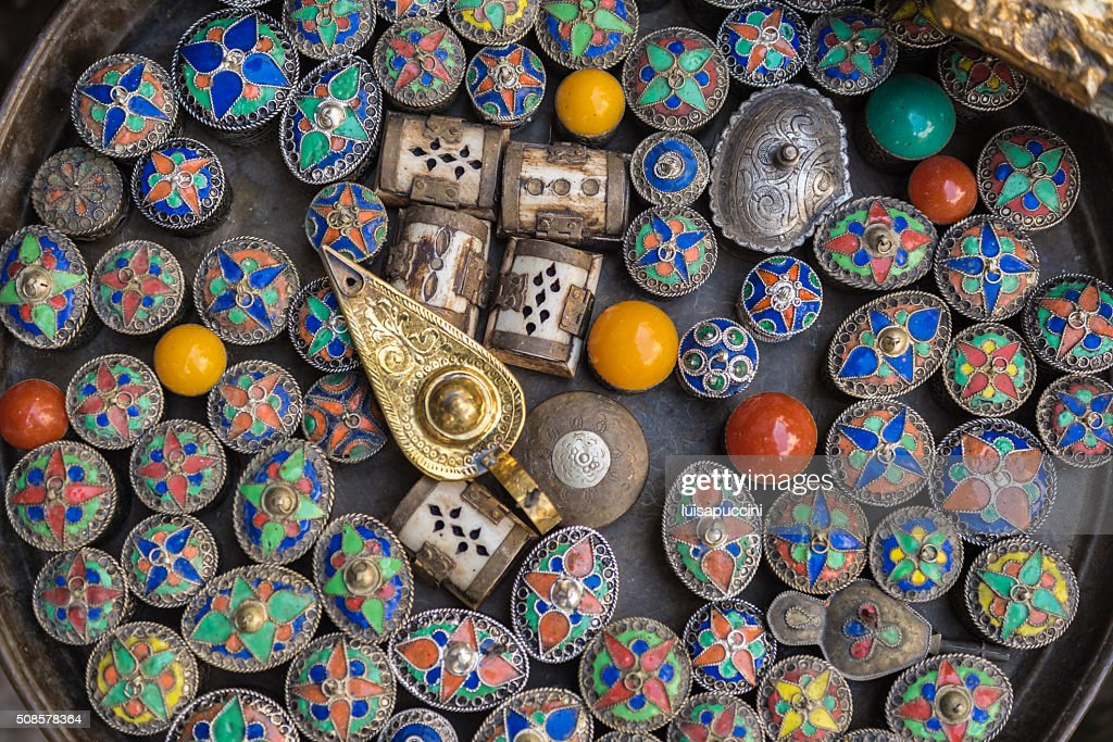 Multicolored Moroccan souvenirs : Stock Photo