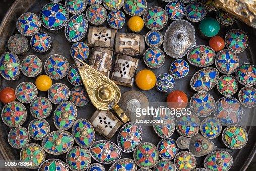 Multicolored Moroccan souvenirs : Stock Photo