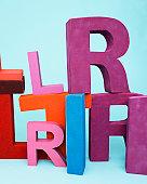 Multi-colored oversize letters