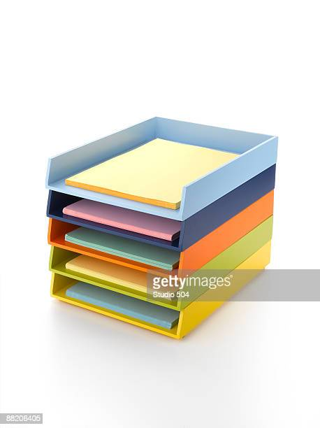 Multi-colored paper in shelves