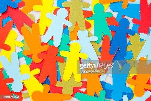 Multicolored paper people