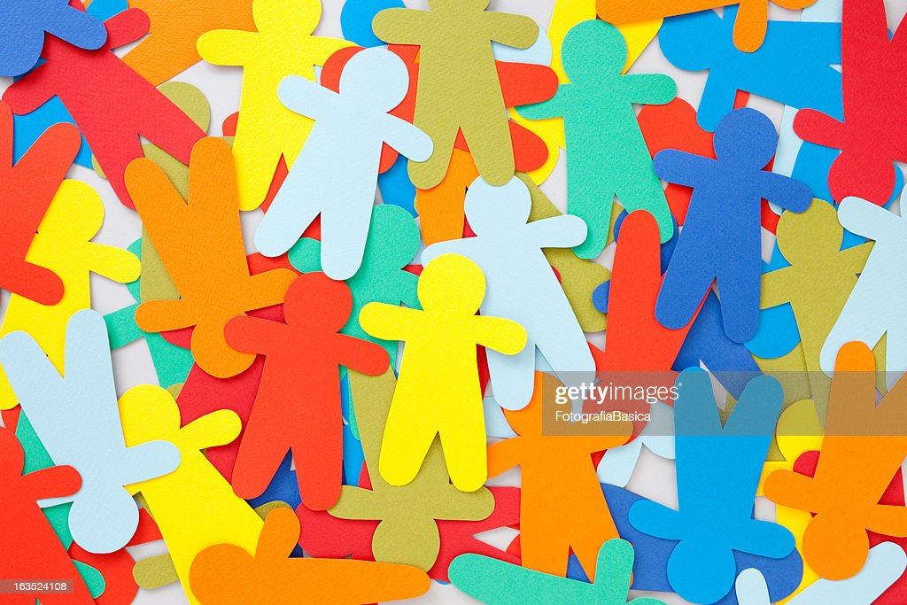 Multicolored paper people