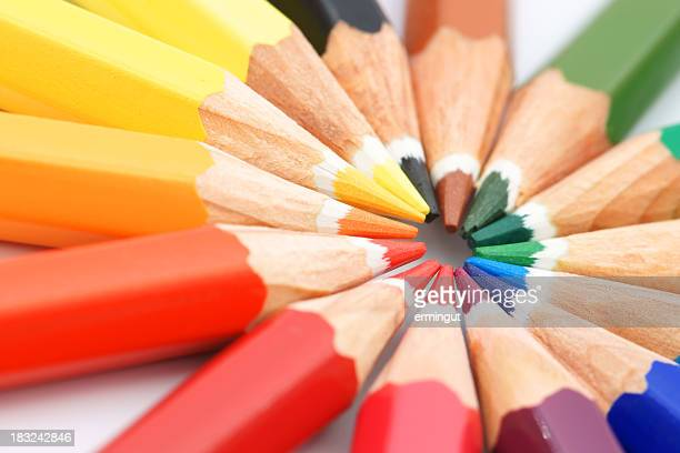 Multicolored pencils circle - diagonal