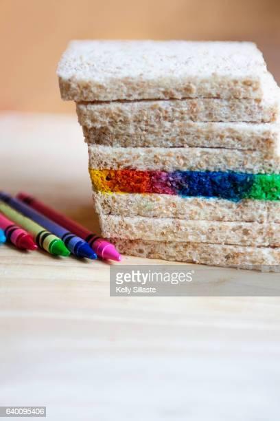 Multicolored Rainbow Bread Slice