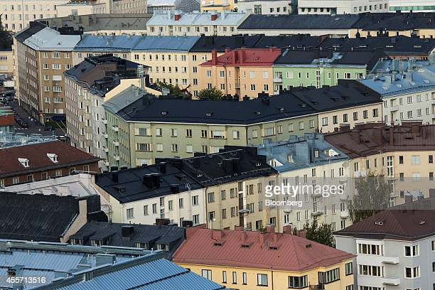 Multicolored residential apartment blocks stand on the city skyline in Helsinki Finland on Friday Sept 19 2014 Finland can't afford to be stripped of...