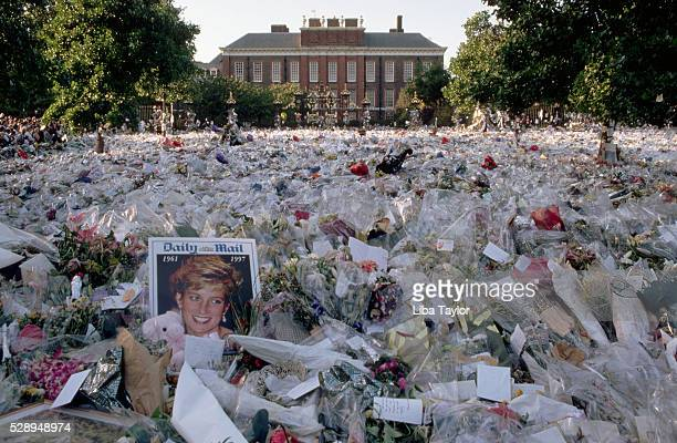 A multicolored sea of floral tributes to Diana Princess of Wales lie outside the gates of her London home The flowers began to arrive soon after news...
