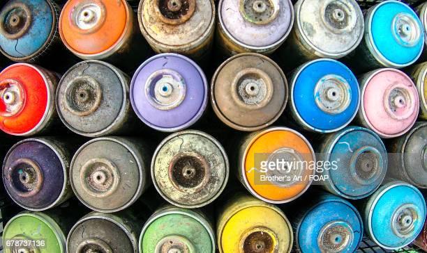 Multicolored spray cans
