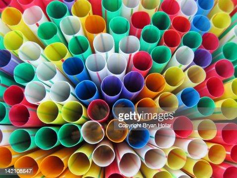Multi-colored straws : Stock Photo