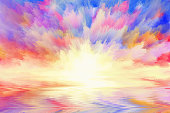 multicolored sunrise, art background