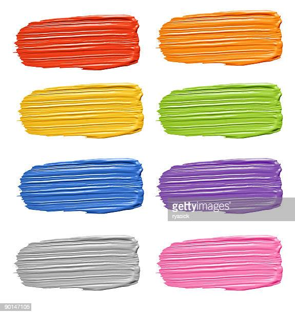 Multicolored Textured Paint Brushstroke Smears Isolated on White