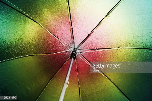 Multicolored umbrella seen from inside