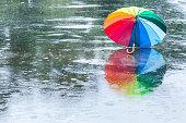 Abstract multi-colored rainbow umbrella on the street
