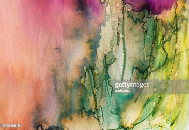 マルチカラーの水彩画紙、インク