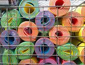 Multicolored Yoga mats in store.