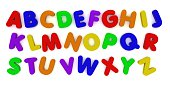 3d Render of multicoloured alphabet fridge magnet letters isolated on white.