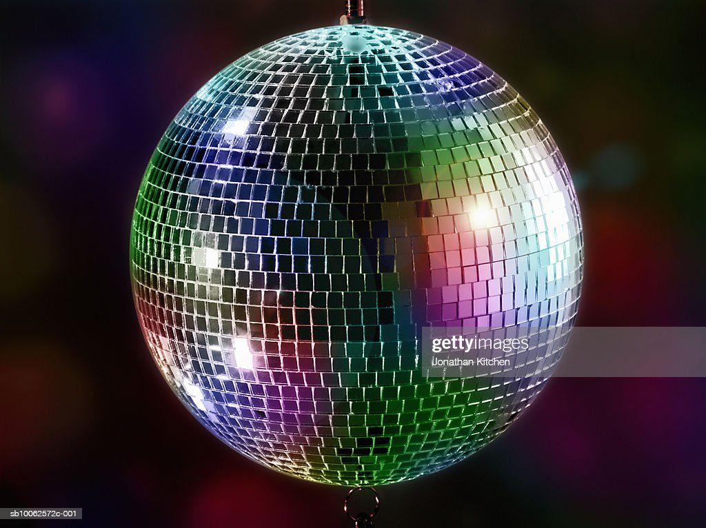Multi-coloured disco mirror ball : Stock Photo