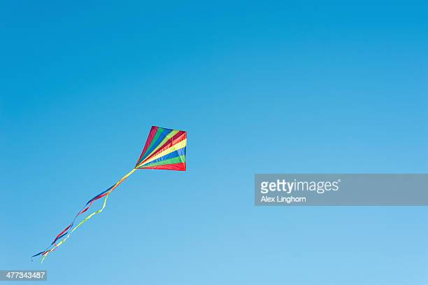 Multicoloured kite flying upwards in blue sky