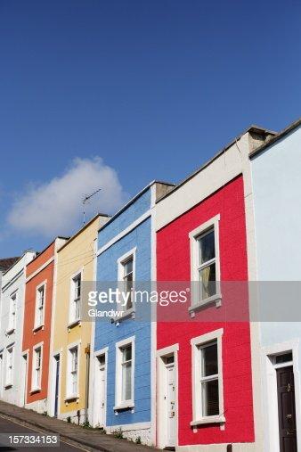 Multi-coloured Terrace Houses on Steep Hill