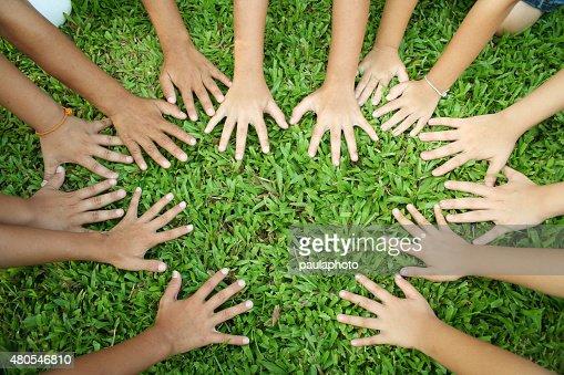 Multicultural de manos : Foto de stock