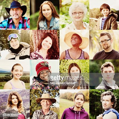 Multicultural people faces collage shot outdoors all seasons