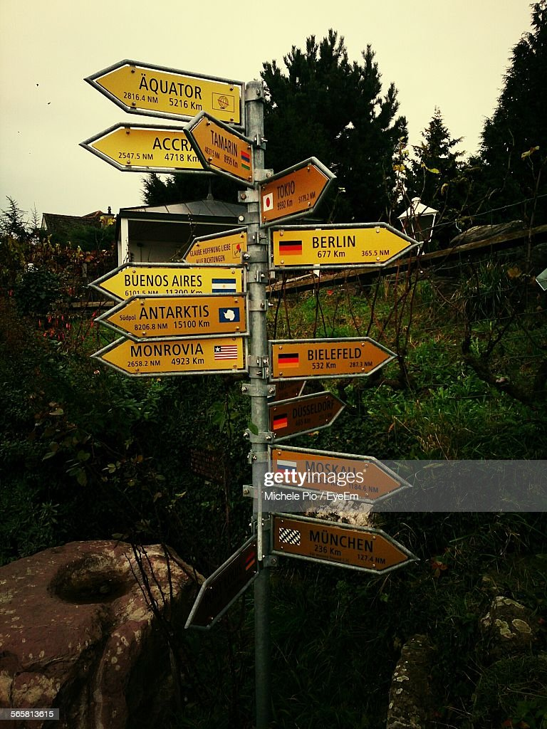 Multi-Directional Signs On Distance Pole