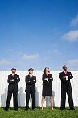 Multi-ethnic businesspeople wearing sunglasses